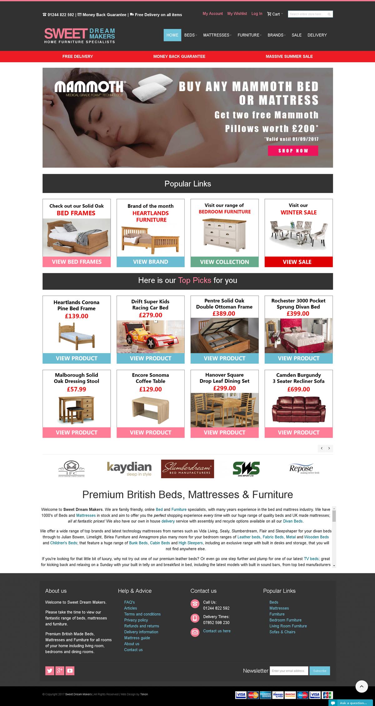Tekon Website Design Liverpool - Sweet Dream Makers
